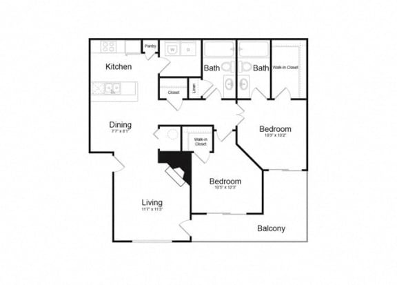 Floor Plan  D Two Bed And Two Bath Floorplan at Alvista Trailside Apartments, Englewood, CO, 80110