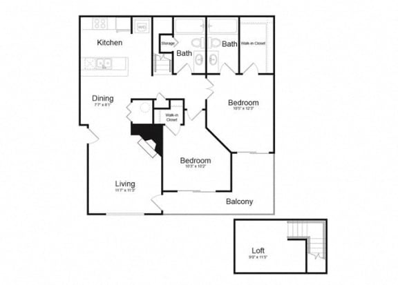 Floor Plan  F Two Bed And Two Bath Floorplan at Alvista Trailside Apartments, Englewood, 80110