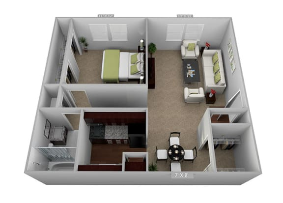 Floor Plan  1bed 1bath Floor Plan at Highland Club Apartments, Watervliet, NY, 12189