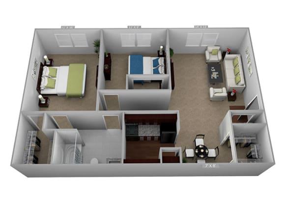 Floor Plan  2 bed 1 bath Floor Plan at Highland Club Apartments, Watervliet, NY