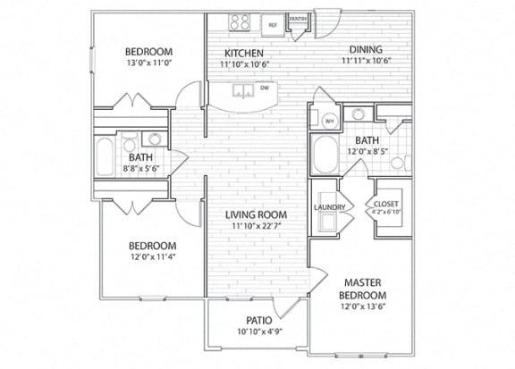 Apex 3 Bedroom 2 Bath Floor Plan