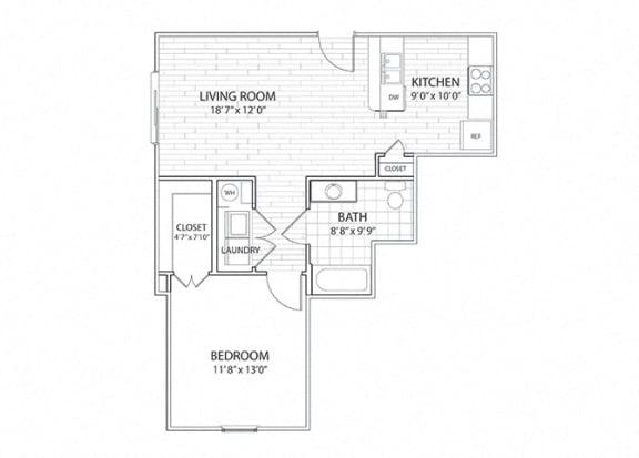 Floor Plan  Mesa 1 bedroom, 1 bathroom apartment floor plan