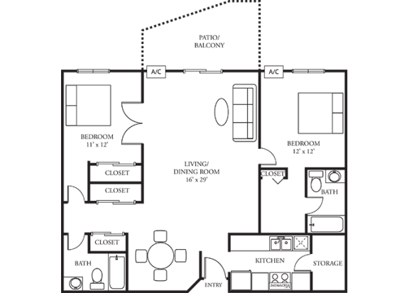 The Woods of Burnsville Apartment Homes - 2 Bedroom 2 Bath Apartment