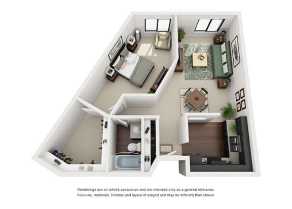 Floor Plan  The Woods of Burnsville Apartment Homes - 1 Bedroom 1 Bath Apartment