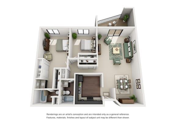 Floor Plan  The Woods of Burnsville Apartment Homes - 2 Bedroom 2 Bath Apartment