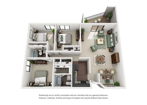 Floor Plan  The Woods of Burnsville Apartment Homes - 3 Bedroom 2 Bath Apartment