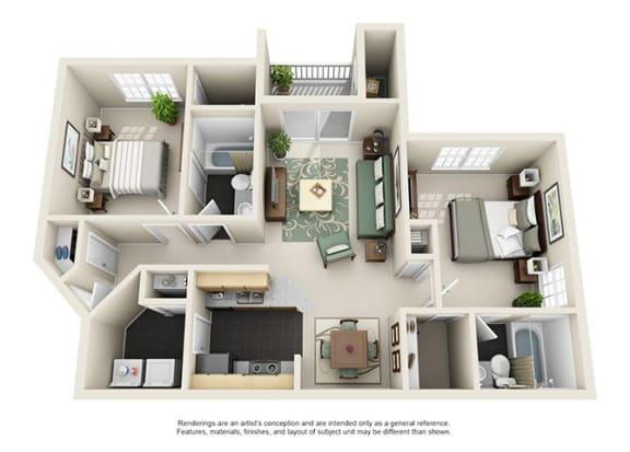 Floor Plan  Uptown Buckhead Apartment Homes - 2 Bedroom 2 Bath Apartment