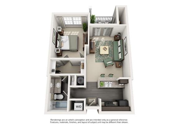 Floor Plan  1000 Spalding Apartment Homes - 1 Bedroom 1 Bath Apartment