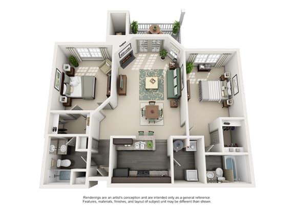 Floor Plan  1000 Spalding Apartment Homes - 2 Bedroom 2 Bath Apartment