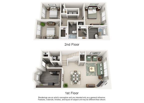 Floor Plan  1000 Spalding Apartment Homes - 3 Bedroom 2 Bath Apartment