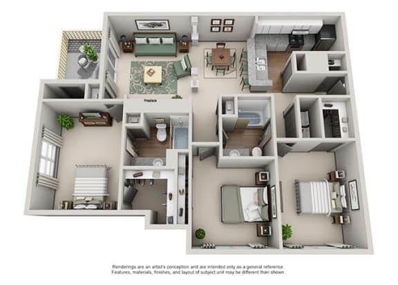Floor Plan  Crosstown at Chapel Hill Apartment Homes - 3 Bedroom 2 Bath Apartment