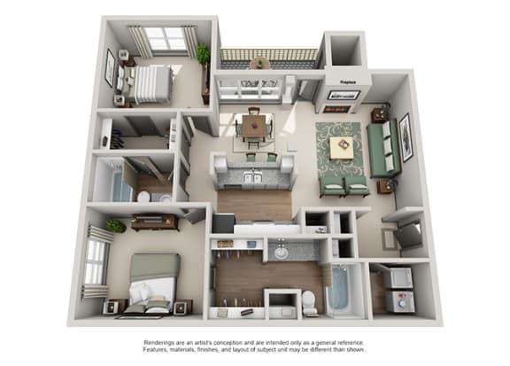 Floor Plan  Crosstown at Chapel Hill Apartment Homes - 2 Bedroom 2 Bath Apartment