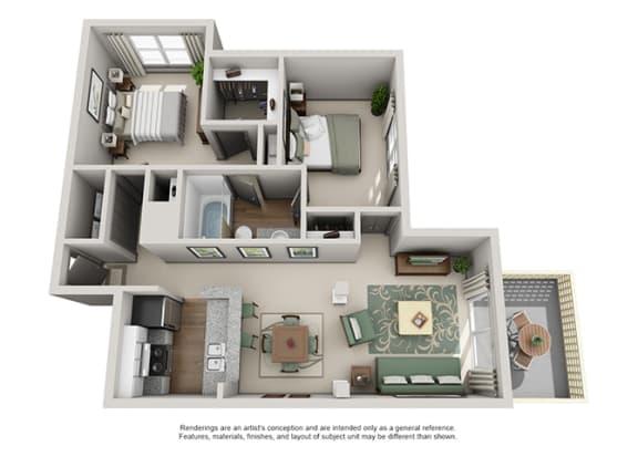 Floor Plan  Crosstown at Chapel Hill Apartment Homes - 2 Bedroom 1 Bath Apartment