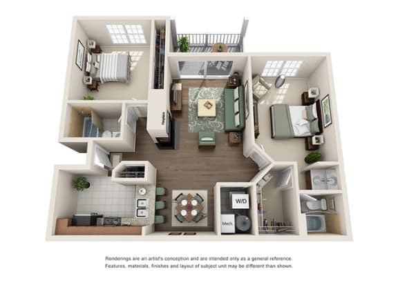 Floor Plan  Dorchester Floor plan - 2 Bedroom 2 Bath - Green Trails Apartment Homes Lisle, IL