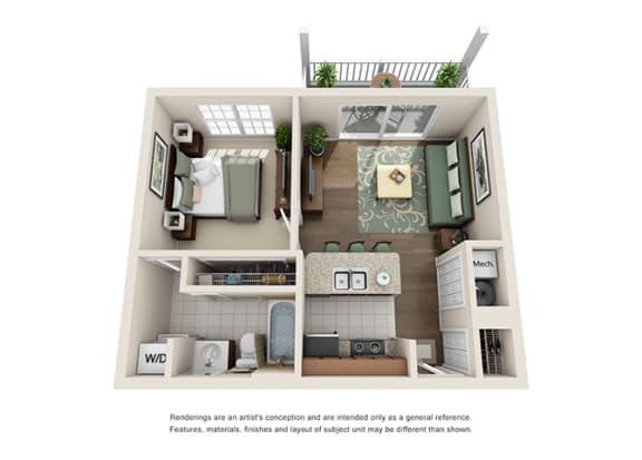 Floor Plan  Nottingham Floor plan - 1 Bedroom 1 Bath - Green Trails Apartment Homes Lisle, IL