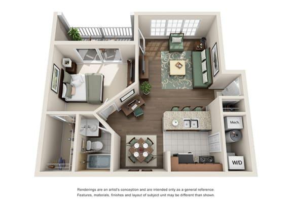 Floor Plan  Saxony Floor plan - 1 Bedroom 1 Bath - Green Trails Apartment Homes Lisle, IL