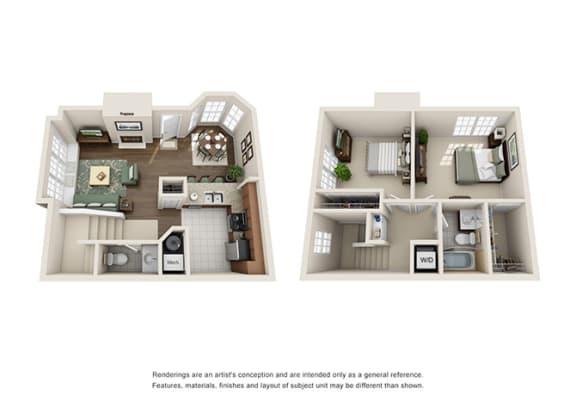 Floor Plan  Tudor Floor plan - 2 Bedroom 1.5 Bath - Green Trails Apartment Homes Lisle, IL