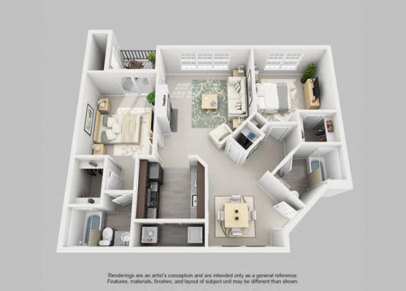 Floor Plan  Perimeter 5550 Apartment Homes - 2 Bedroom 2 Bath Apartment