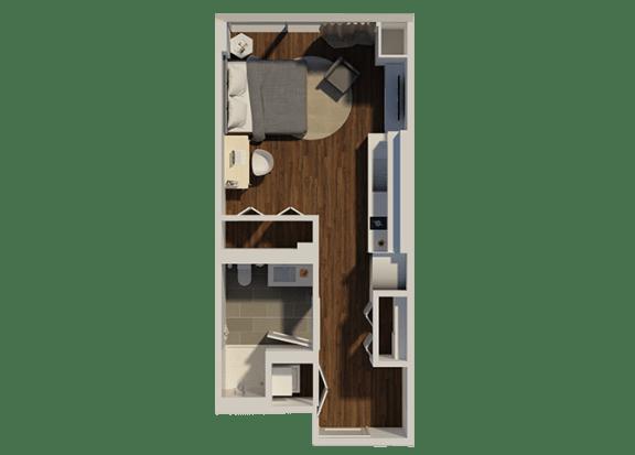 Floor Plan  Studio Style 1 Apartment Floor Plan at Eleven40, Chicago, IL, 60605