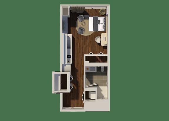 Floor Plan  Studio Style 3 Apartment Floor Plan at Eleven40, Chicago, 60605