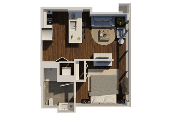 Floor Plan  One Bedroom Style A1 Apartment Floor Plan at Eleven40, Chicago, IL, 60605