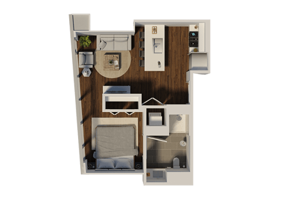 Floor Plan  One Bedroom Style A2 Apartment Floor Plan at Eleven40, Chicago, IL