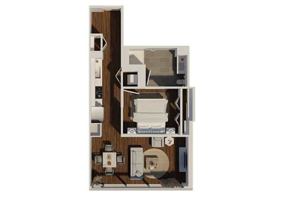 Floor Plan  One Bedroom Style A2 Apartment Floor Plan at Eleven40, Chicago, 60605