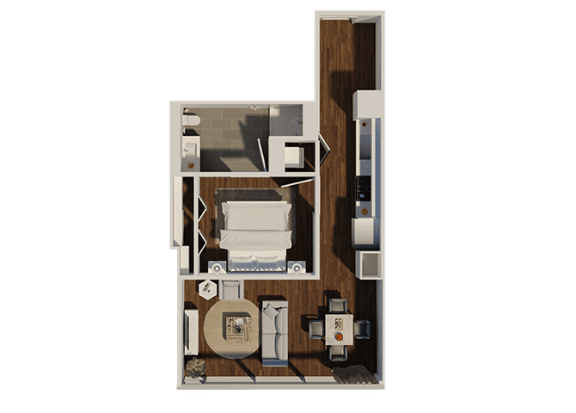 Floor Plan  One Bedroom Style A1 Apartment Floor Plan at Eleven40, Chicago, Illinois