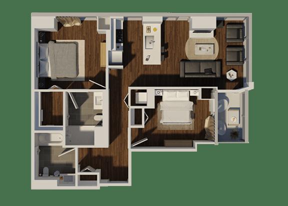 Floor Plan  Two Bedroom Style 2 Apartment Floor Plan at Eleven40, Illinois, 60605