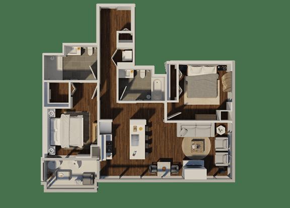 Floor Plan  Two Bedroom Style 3 Apartment Floor Plan at Eleven40, Illinois