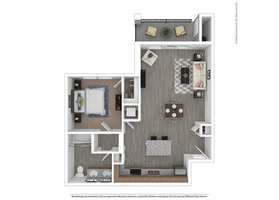 Floor Plan  One bedroom One bathroom at Edgewater at the Cove, Oregon City, OR, 97045