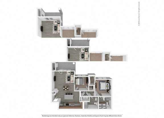 Floor Plan  Two bedroom Two bathroom at Edgewater at the Cove, Oregon City, 97045