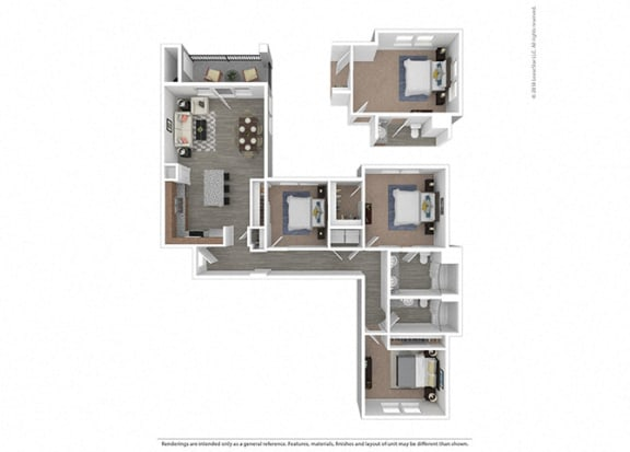Floor Plan  Three bedroom Two bathroom at Edgewater at the Cove, Oregon City, OR, 97045