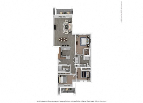 Floor Plan  Three bedroom Two bathroom at Edgewater at the Cove, Oregon City, OR