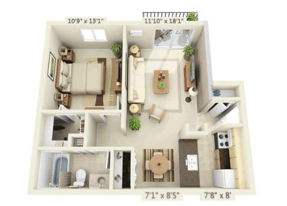 Floor Plan  1 Bed 1 bath 1x1a Floor Plan at Orion 59, Naperville, Illinois