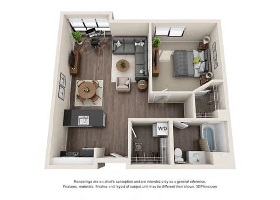 Floor Plan  One Bedroom Floorplan with open concept kitchen