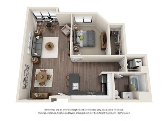 Floor Plan  One Bedroom Floorplan for corner unit apartment
