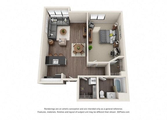 Floor Plan  One Bedroom Floorplan for apartments near koreatown