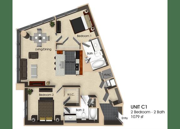 Floor Plan  Floor plan at Aurora, North Bethesda, 20852