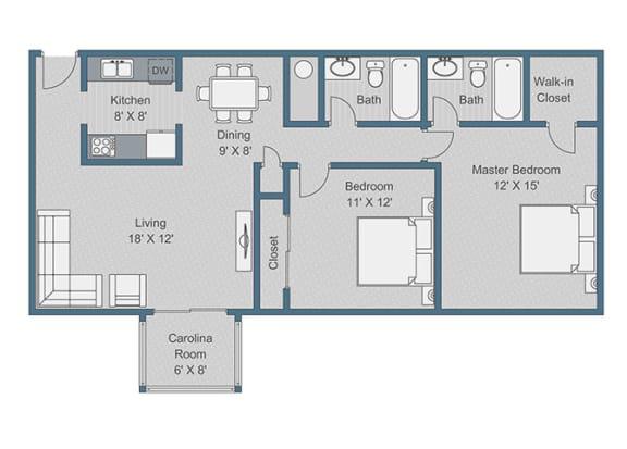 Floor Plan  2x2 Deluxe Floor Plan at Sterling Bluff Apartments, Savannah, GA