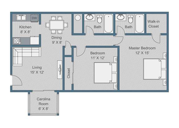 Floor Plan  2x2 Standard Floor Plan at Sterling Bluff Apartments, Georgia, 31406