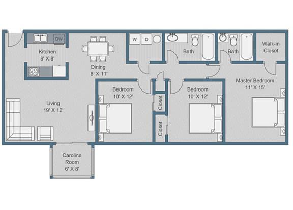 Floor Plan  3x2 Deluxe Floor Plan at Sterling Bluff Apartments, Georgia, 31406