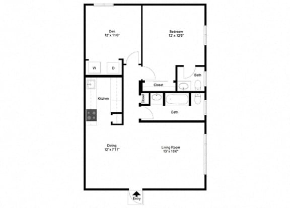 1 Bedroom with Den FloorPlan at Dannybrook Apartments, Williamsville, NY