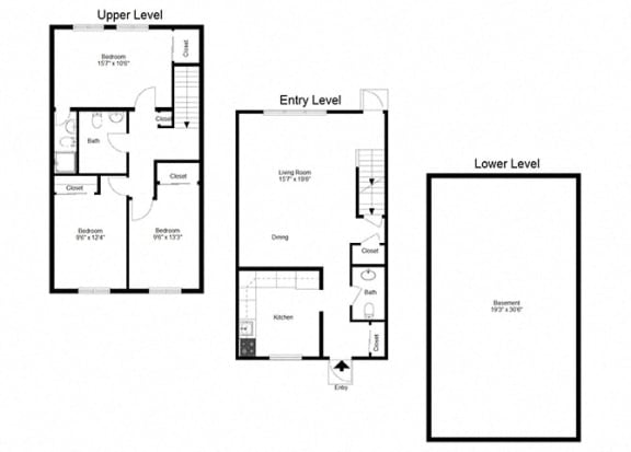 3 Bedroom Townhouse FloorPlan at Dannybrook Apartments, New York, 14221