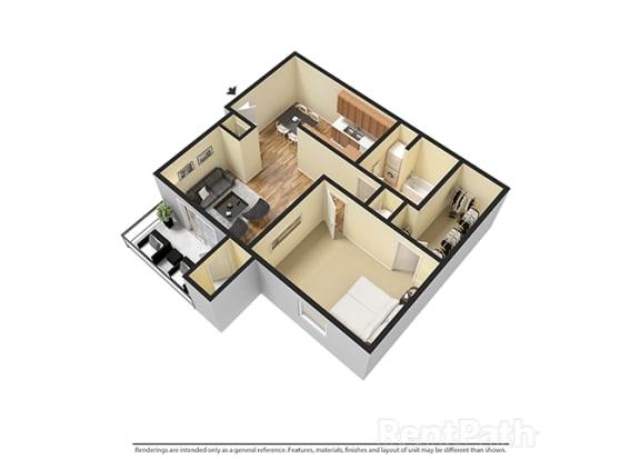 Floor Plan  One Bedroom 3D View Floor Plan at Walnut Creek Apartments, Indiana