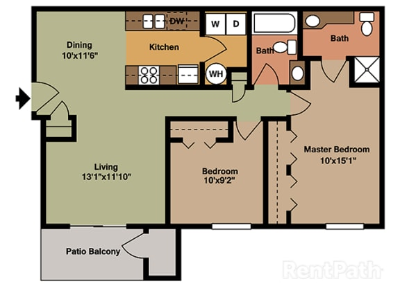 Two Bedroom Flat Floor Plan at Walnut Creek Apartments, Indiana, 46902