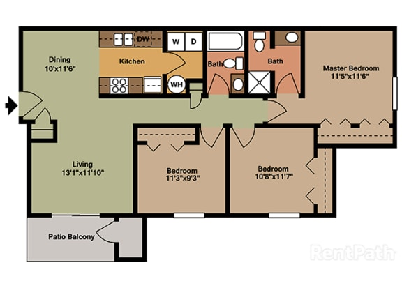 Three Bedroom Flat Floor Plan at Walnut Creek Apartments, Kokomo, 46902
