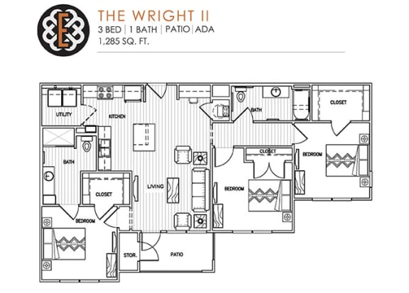 Floor Plan  THE WRIGHT II at The Edison at Peytona, Gallatin, TN 37066