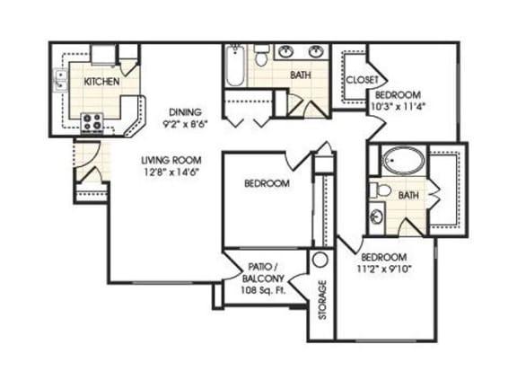 Floor Plan  Stonebridge Ranch Apartment Homes for Rent in Chandler AZ  3 bedroom apartment floor plan