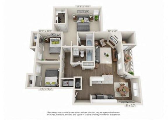 Floor Plan  3 Bed 2 Bath Floor Plan at Heatherbrae Commons, Milwaukie, OR, 97222